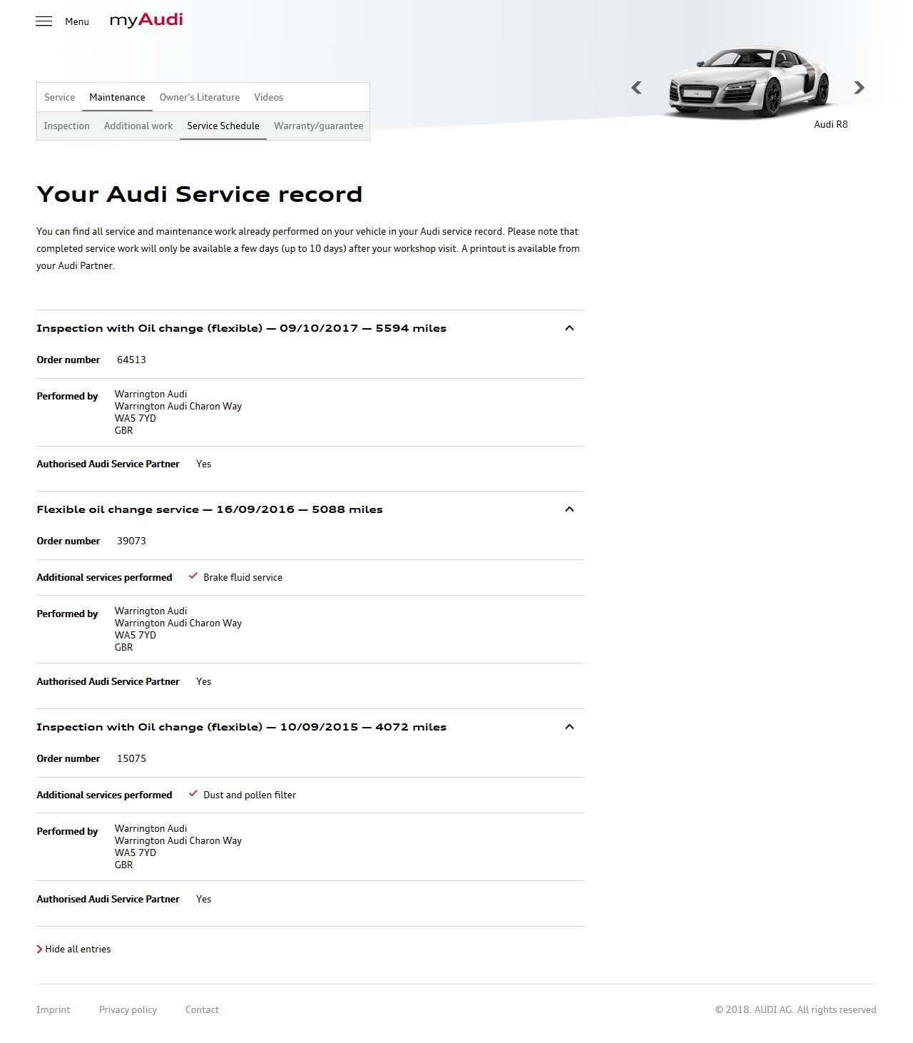 My Audi Electronic Service Schedule - Audi maintenance schedule